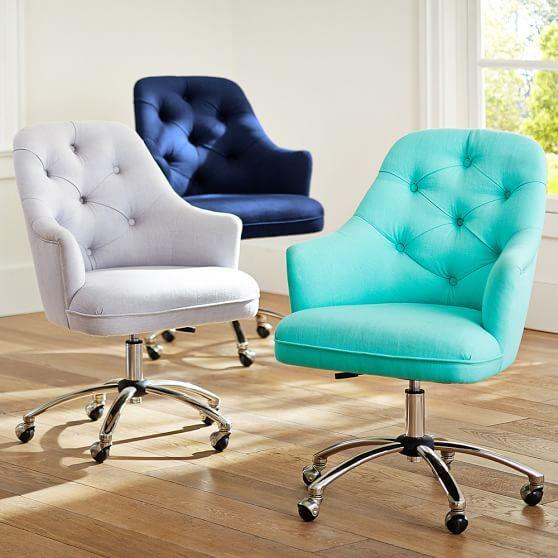Twill Tufted Desk Chair