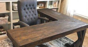 DIY L-Shaped Farmhouse Wood Desk + Office Makeover
