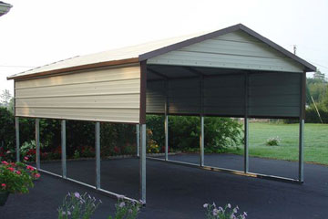 1 car carport canopy with half walls and gabled boxed eave TWRPLYD