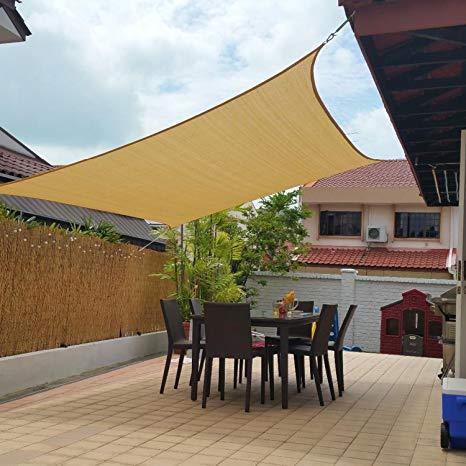 10u0027 x 13u0027 sun shade sails canopy rectangle sand, 185gsm shade sail WLUNJJU