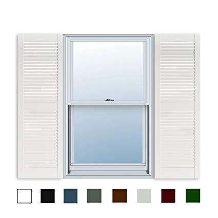 15 inch x 55 inch standard louver exterior vinyl window shutters, white ZCUTUYH