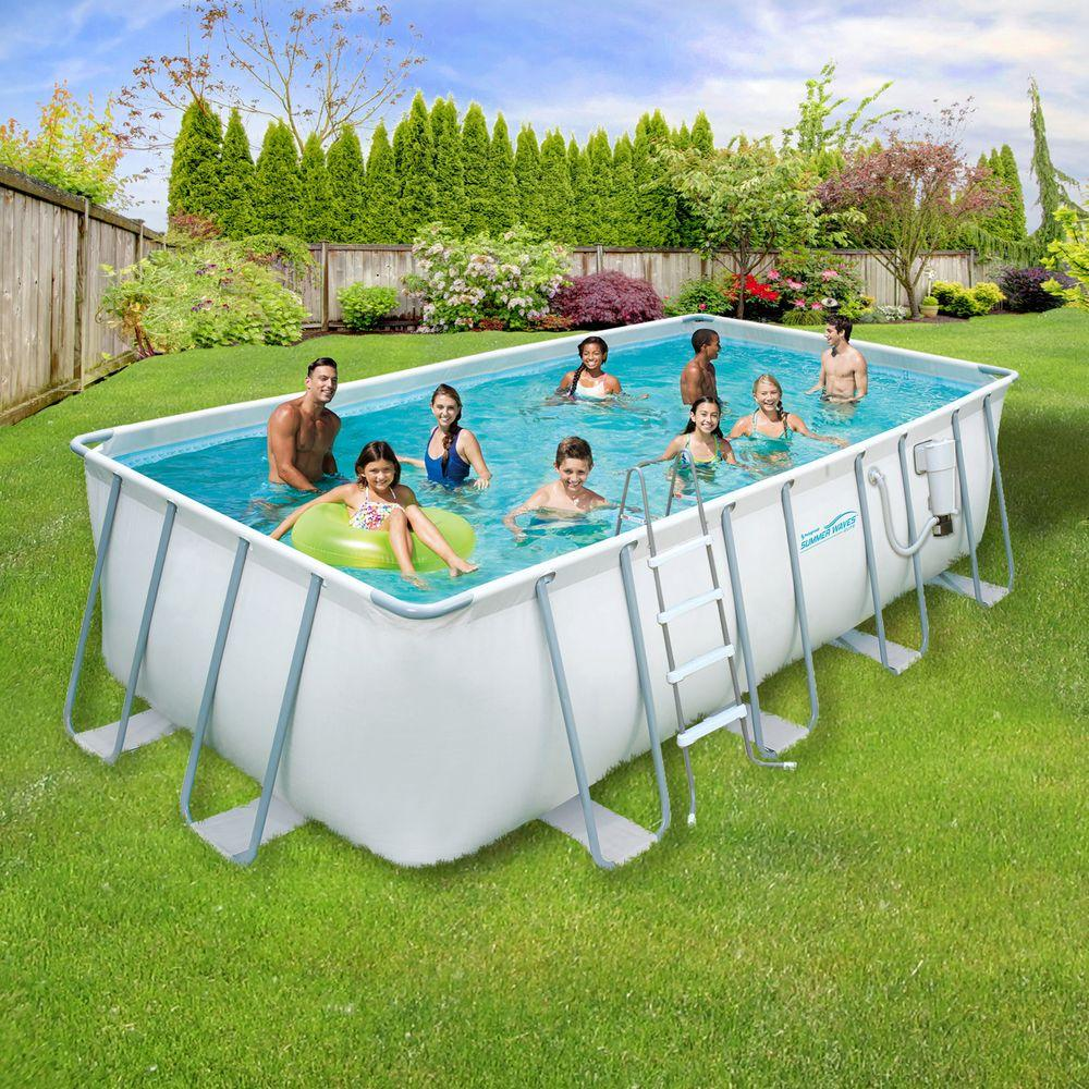 above ground pool summer waves elite 9 ft. x 18 ft. rectangular 52 in. deep PWONAXP