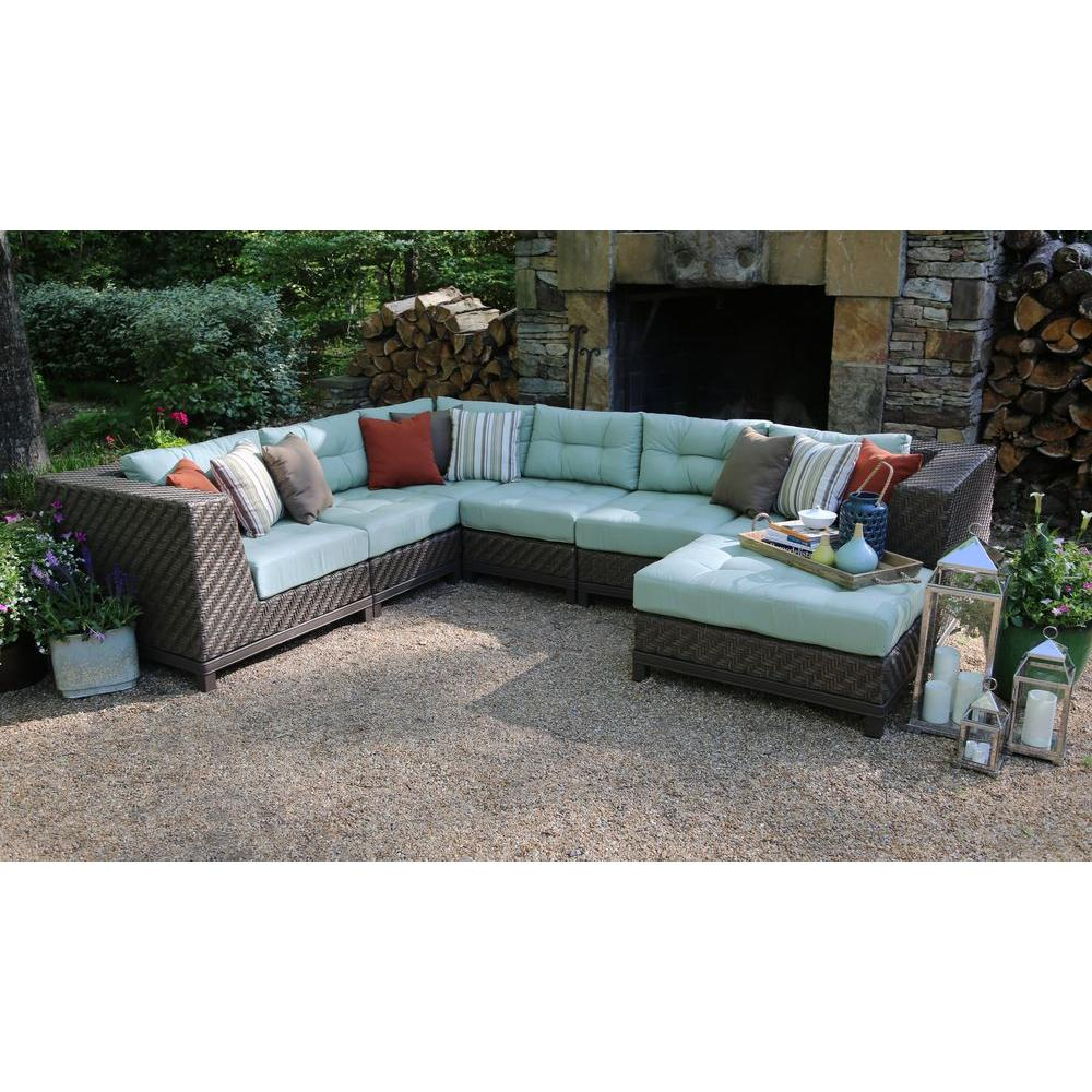 ae outdoor dawson 7-piece patio sectional seating set with sunbrella fabric KWFJJQV