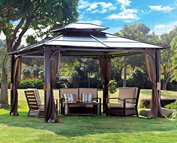 amazon.com : sunjoy 10 x 12 chatham steel hardtop gazebo : garden CMOAYZN