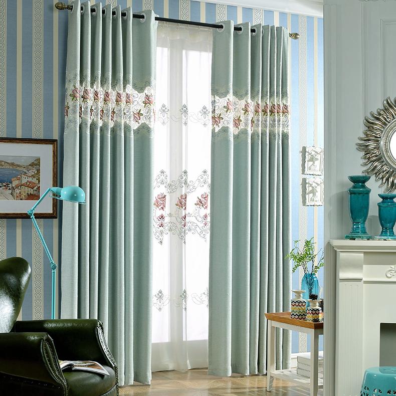 baby blue floral embroidery linen elegant custom curtains PNKLKOZ