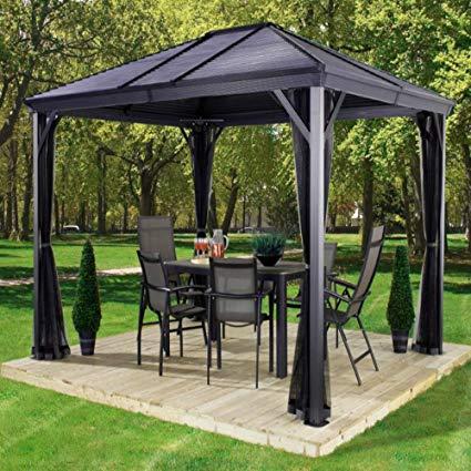 backyard canopy amgs hot tub gazebo canopy patio outdoor tent curtains 10x10 bbq grill GDCRXXW