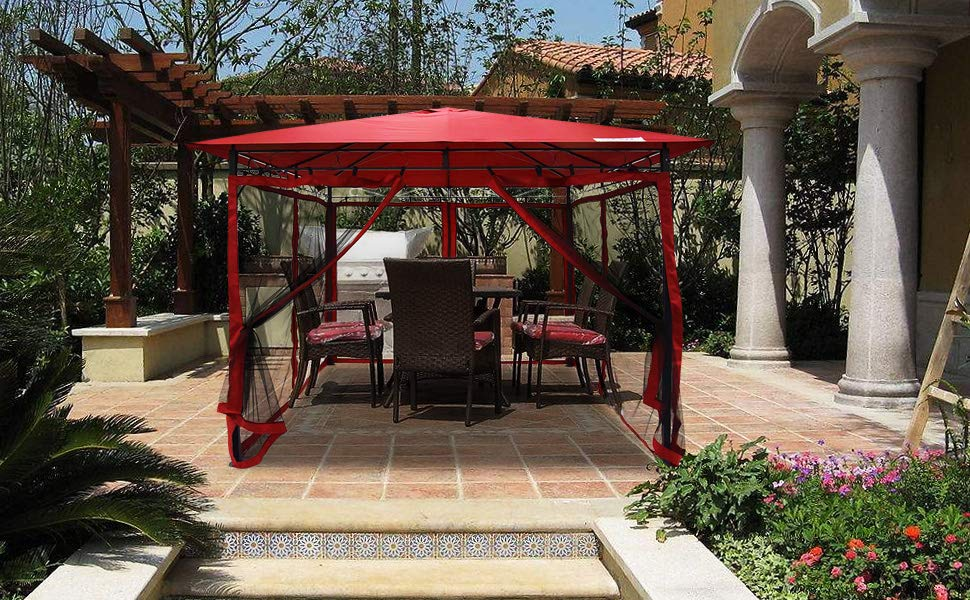 backyard canopy quictent metal hardtop gazebo canopy backyard shelter watereproof with mesh  screen UHJOOSF