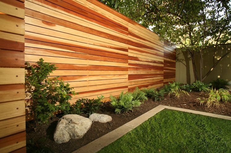 backyard fence ideas modern wood fence backyard landscaping lisa cox landscape design solvang, ca MLNIXYD