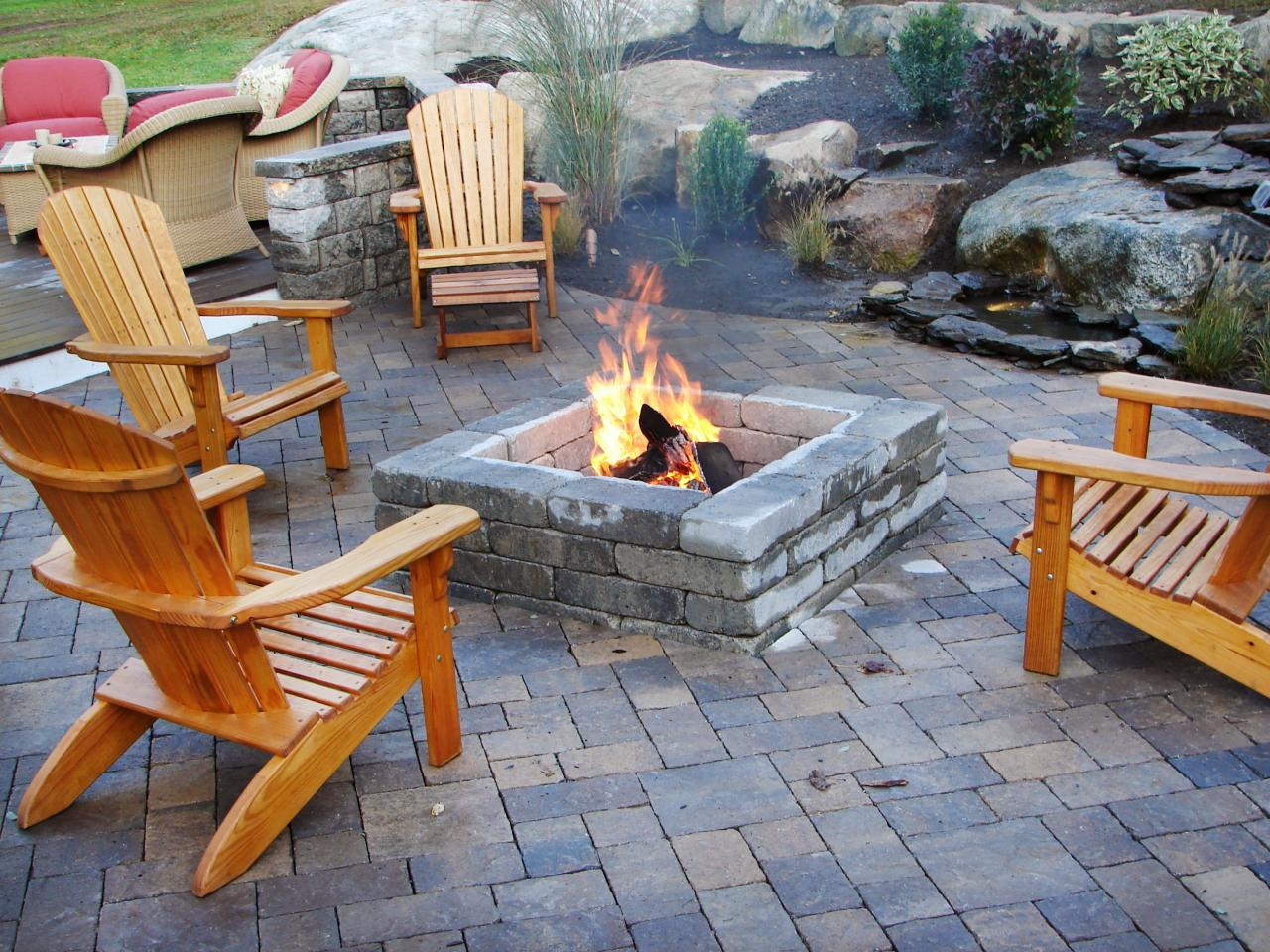 backyard fireplace featured in indoors out episode  ZCREXTZ
