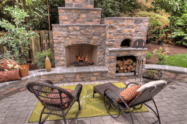 backyard fireplace outdoor fireplace with pizza oven traditional-patio CXINZAO