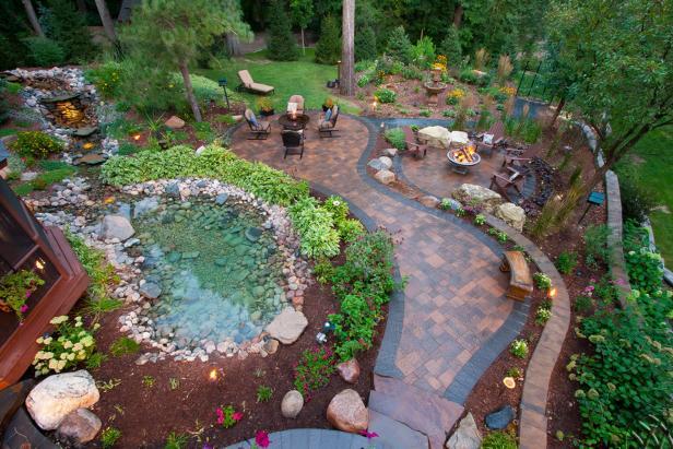 backyard garden ideas enchanting cottage backyard with paver patio walkway, natural rock pond and QYAMECD