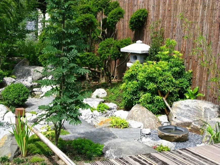 backyard garden ideas rock garden with bamboo fence and water feature. VGLYGFF