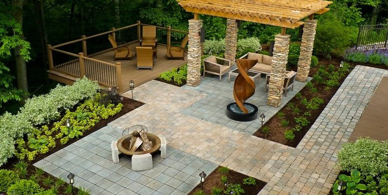 backyard ideas wheelchair accessible backyard backyard landscaping the cornerstone  landscape group fort wayne, XPVELNM