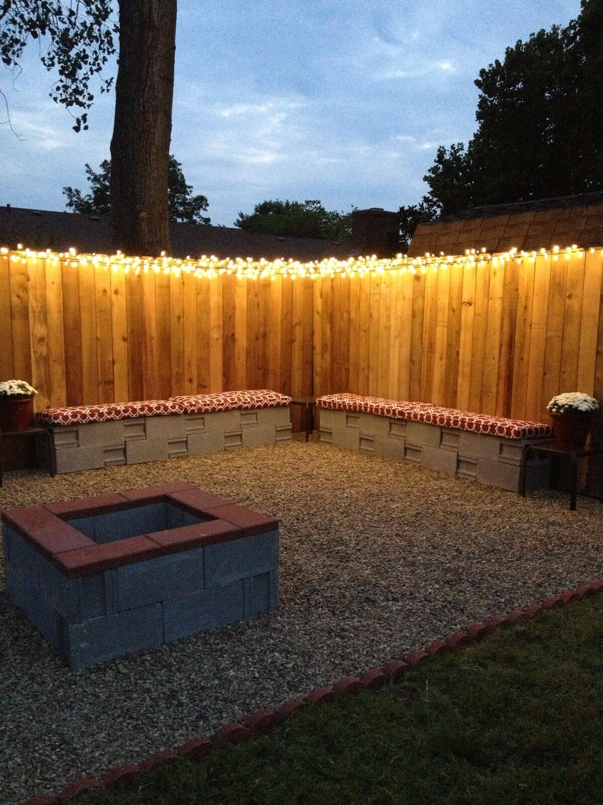backyard lighting ideas simple fenceline christmas light illumination ZNPRUKE