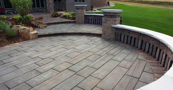backyard stamped concrete patio ideas FAHDJXA