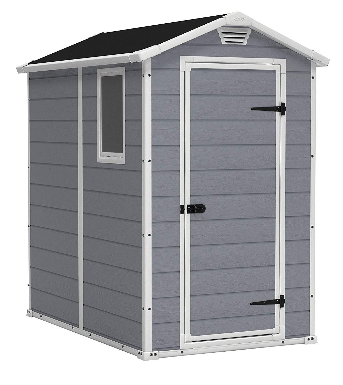 backyard storage sheds amazon.com : keter manor large 4 x 6 ft. resin outdoor backyard RRMPHKY