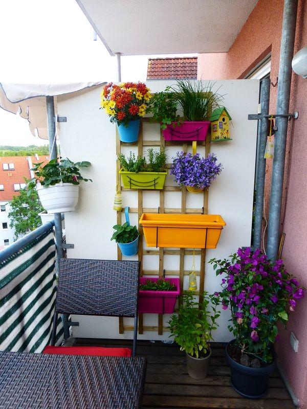 balcony garden ideas vertical balcony garden idea - colorful planters are hung on this wooden LOQKTUO