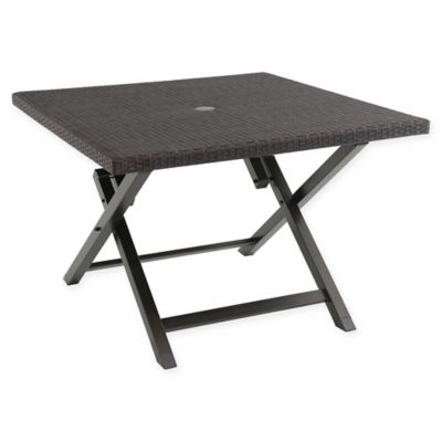 barrington wicker 42-inch square folding patio table in brown YUMEATK