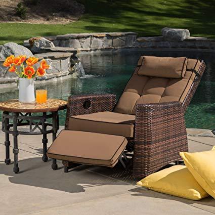best selling pe wicker outdoor recliner DRZPOVW