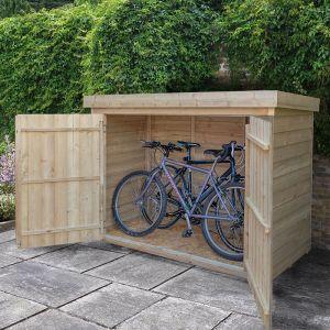 bike storage shed forest large double door pent wooden garden storage - bike / mower AMWPPCZ