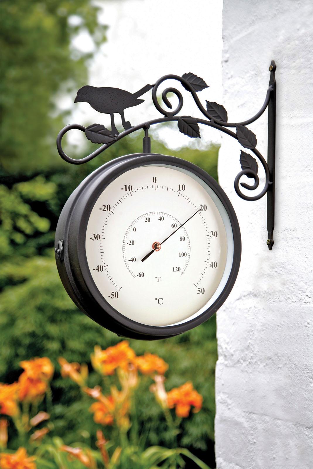birds of britain swivel garden clock thermometer 4372 GJVKRWT