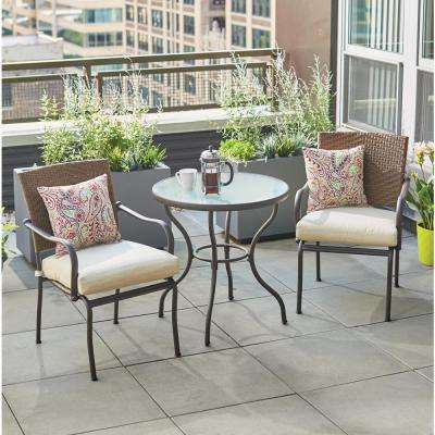 bistro patio set pin oak 3-piece wicker outdoor bistro set with oatmeal cushions BUHINVK