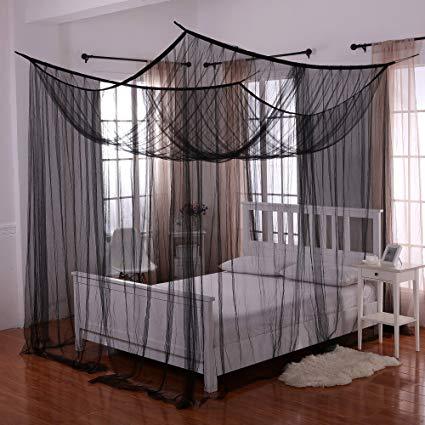 black canopy bed amazon.com: heavenly 4-post bed canopy, black: home u0026 kitchen EDVYZOB