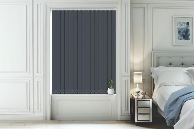 blackout vertical blinds hannah slate - moisture resistant blackout vertical blind YHLQAXJ