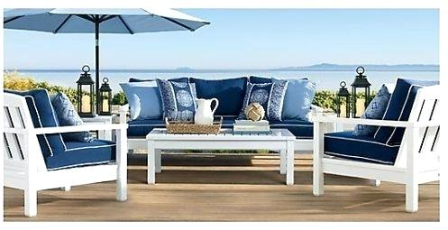 blue and white patio furniture PILZUCE