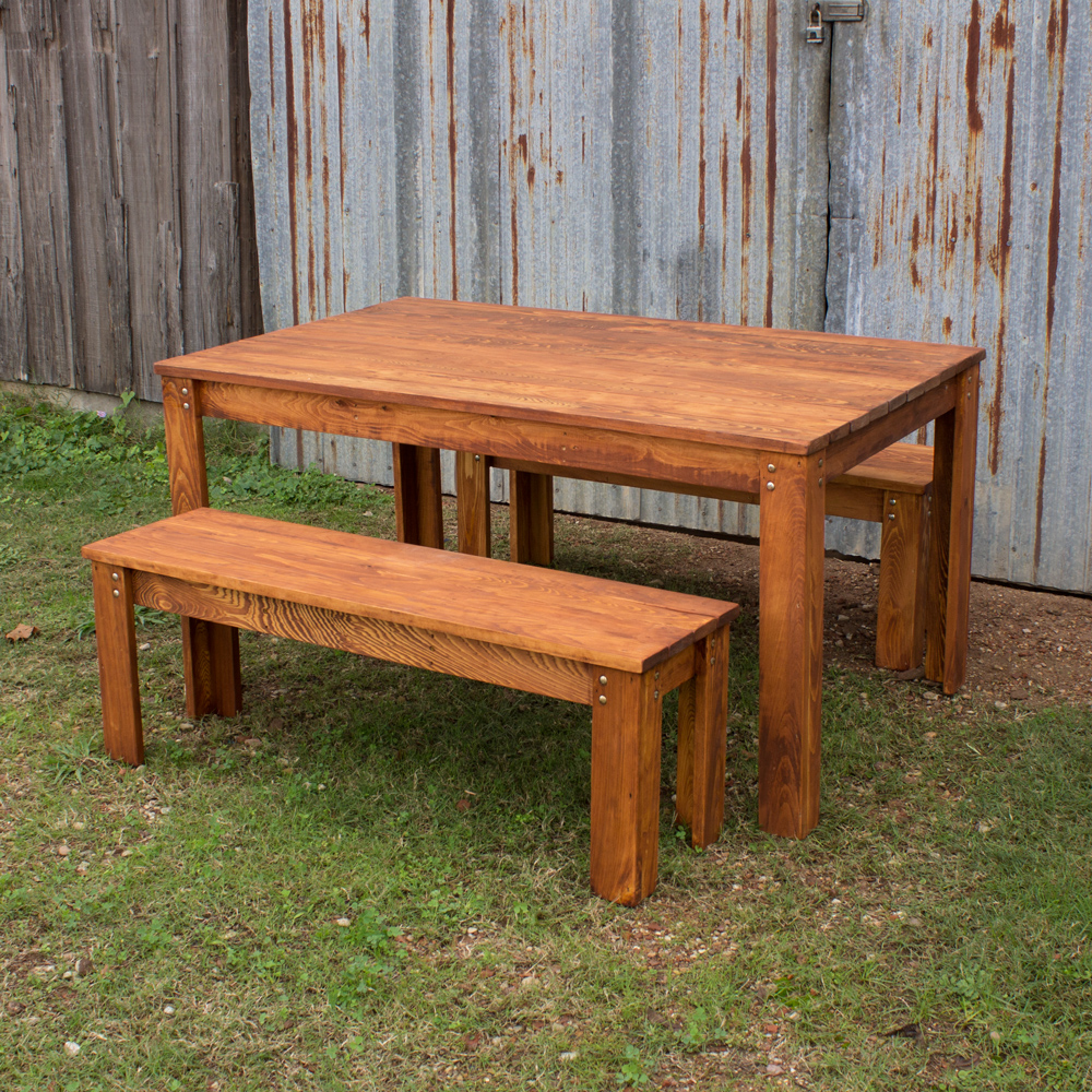 carencro style outdoor table and benches VHNVAGL