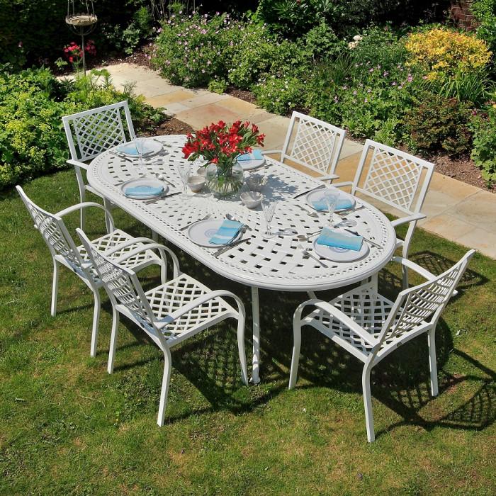 cast aluminium garden furniture catherine white (6 seater set) 210 x 105cm oval cast aluminium patio JFTIIYS