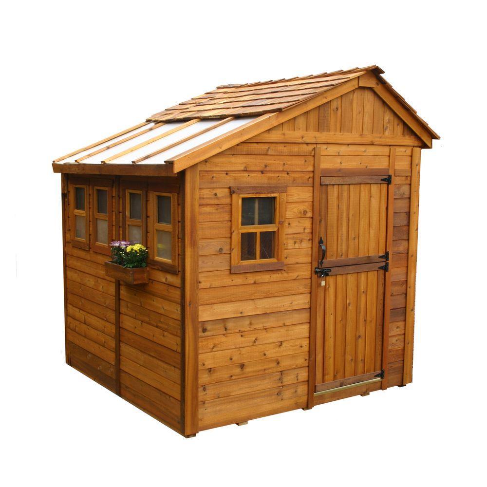 cedar sheds outdoor living today sunshed 8 ft. x 8 ft. western red cedar FZMJPVZ