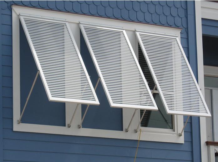 close-up photo of aluminum bahama shutters. RPHGMBT