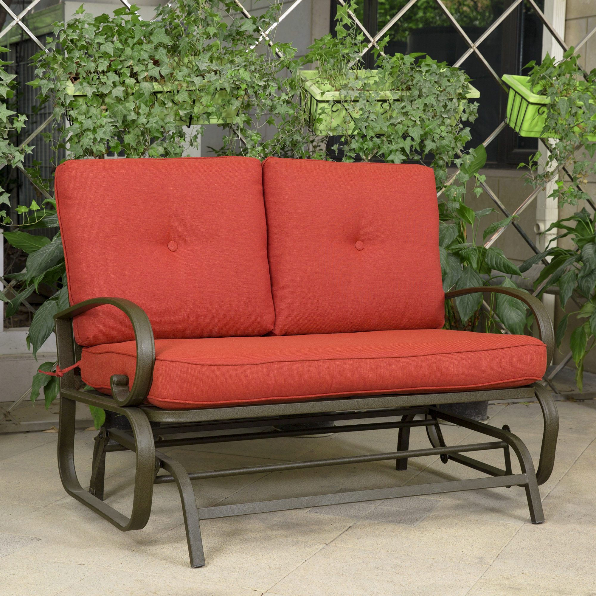 cloud mountain patio glider bench outdoor cushioed 2 person swing loveseat FOCGCOL