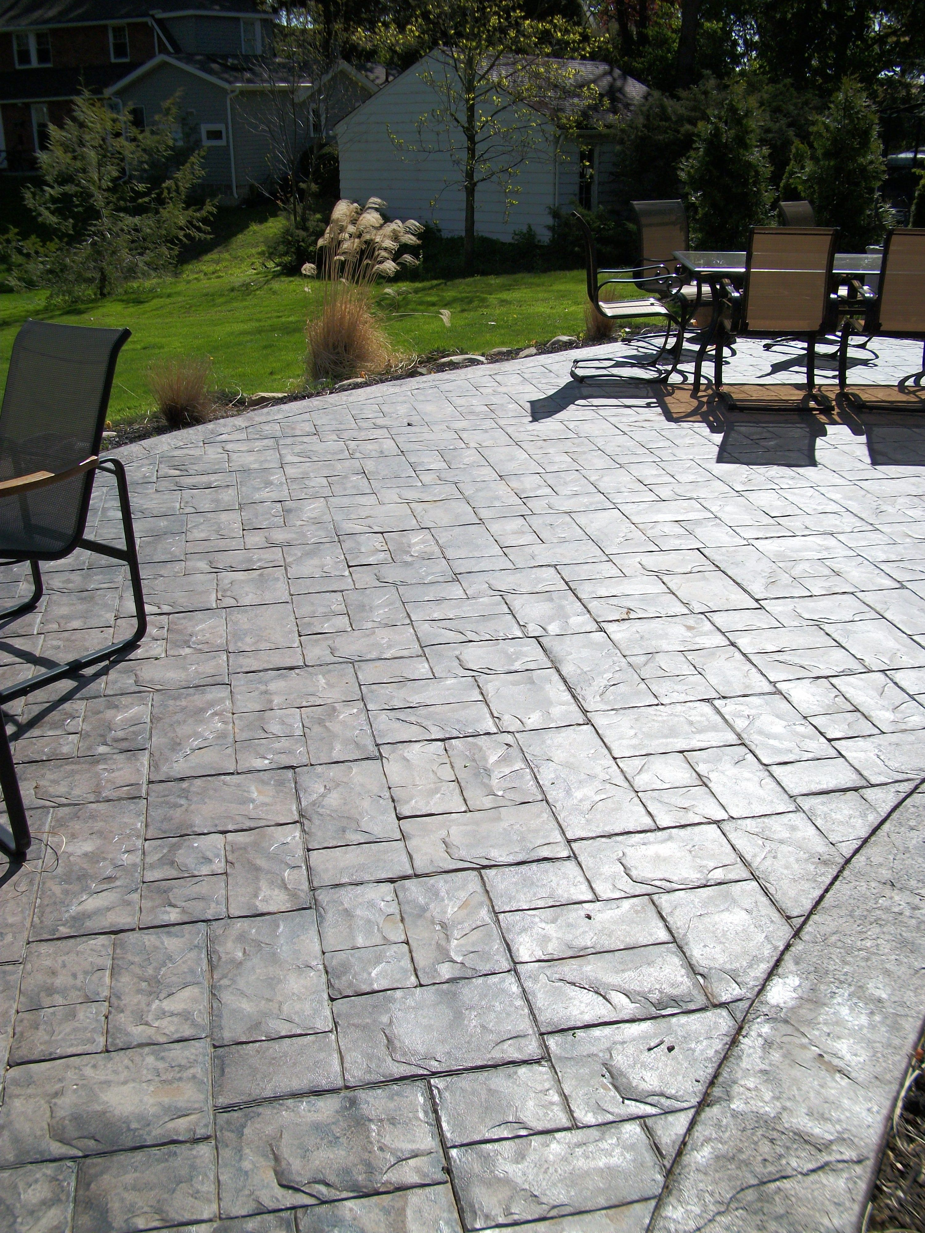 concreations by fordson -- ashler slate stamped concrete patio YBBVYOW