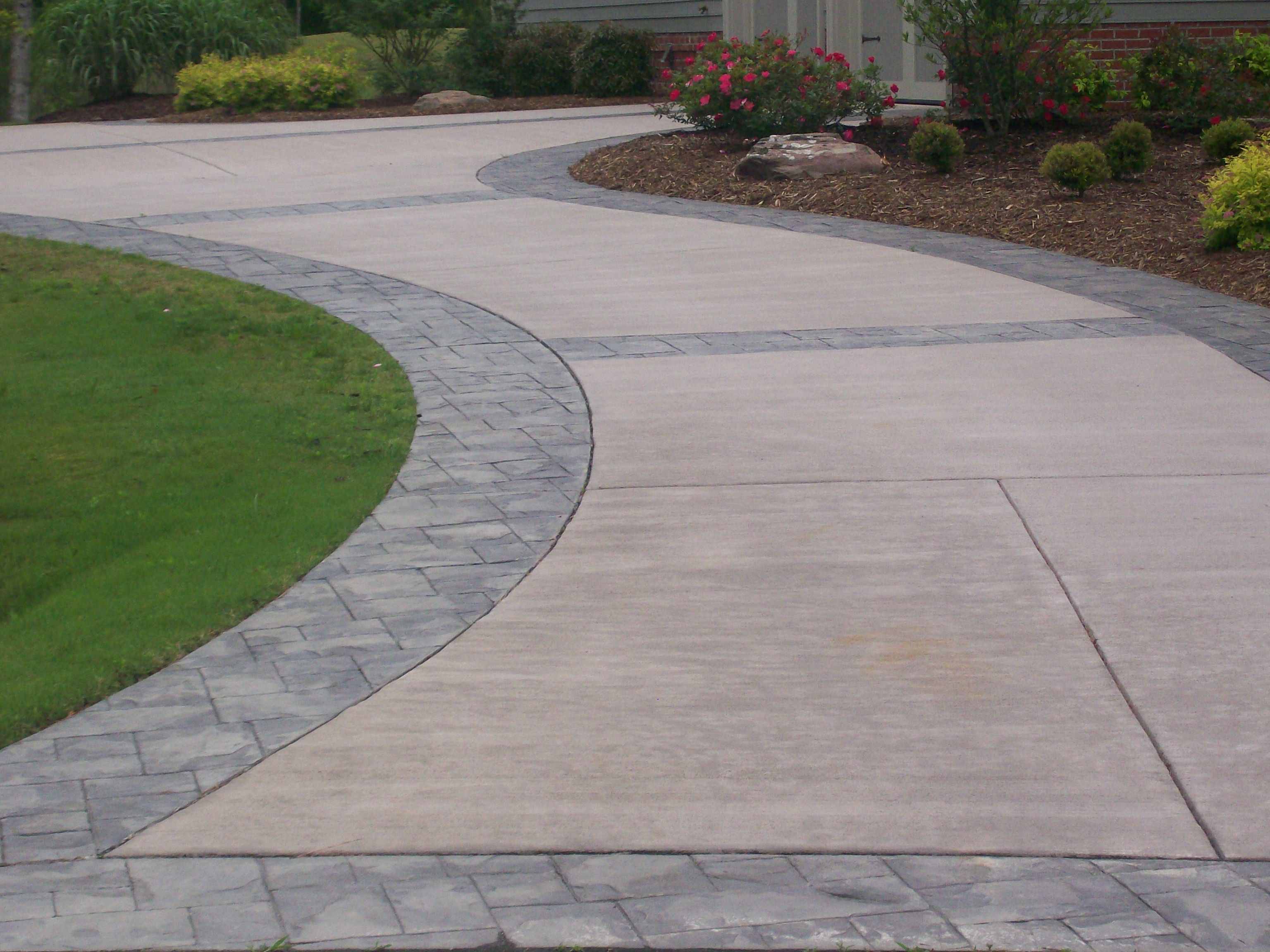 concrete driveways driveway with stamped concrete IBGEHRY
