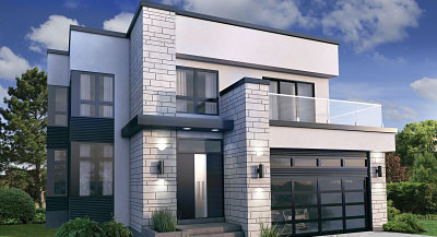 contemporary house designs front rendering YPCOIOB