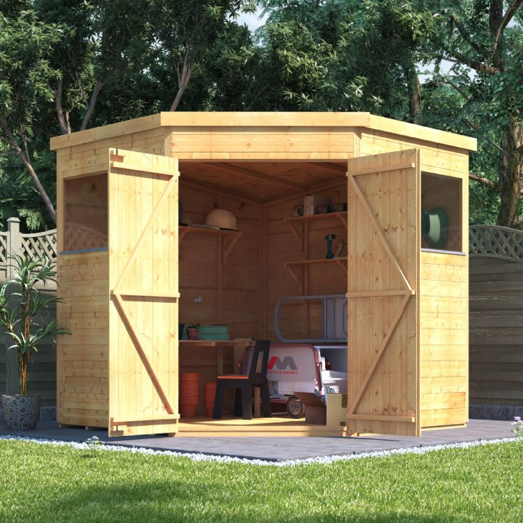 Revamp Your Unused Space into One of the Daintiest Corner Sheds Ever