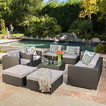 cortez sea 9 piece outdoor wicker furniture sectional sofa set KMWGILR