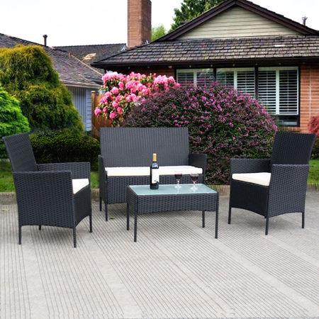 costway 4 pc outdoor rattan furniture set loveseat sofa cushioned patio LGWKRQJ