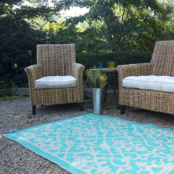 cream, turquoise, plastic outdoor rug, patio rug, indoor outdoor rug - NDWGAJE