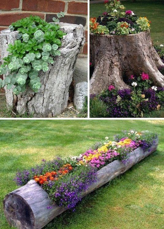 creative garden ideas 24 creative garden container ideas | use tree stumps and logs as XECAUEJ