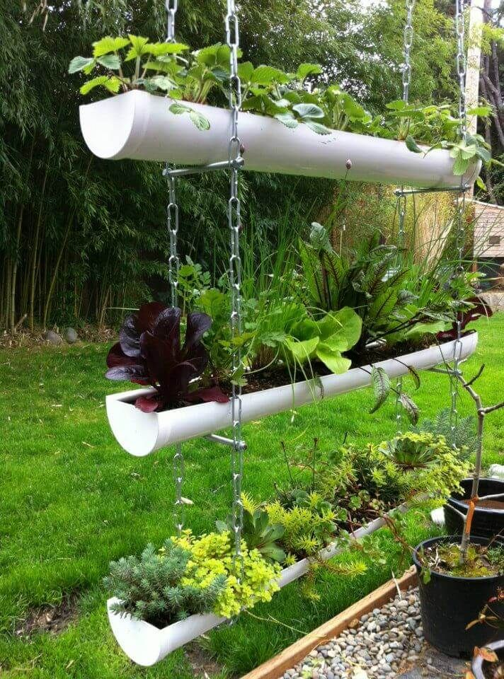 creative garden ideas plastic pipe hanging garden idea SVBOFJA