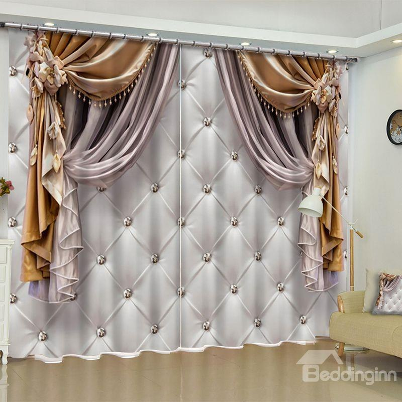 custom curtains 51 3d imitated elegant shading cloth printed custom curtain for living room LPNEOTL
