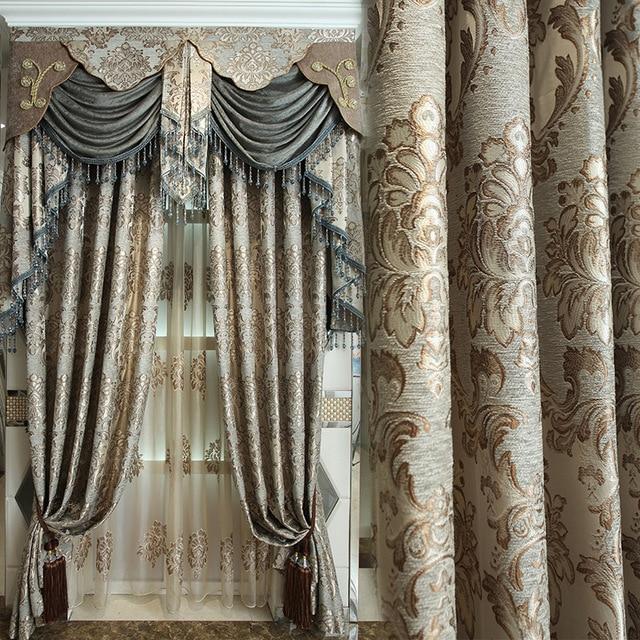 custom curtains european luxury curtains shading cloth jacquard chenille  high-grade villa MMLOFJK