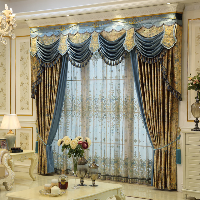 custom curtains french european style curtains villa elegant gold luxurious  printing PISNNZZ