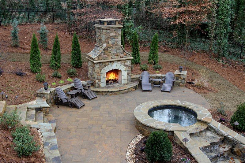 custom stone backyard fireplace outdoor fireplace artistic landscapes  woodstock, ga XZFQFTS