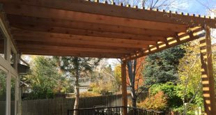 deck covers custom brown pergola cover a deck attached to house. RXVJCCN