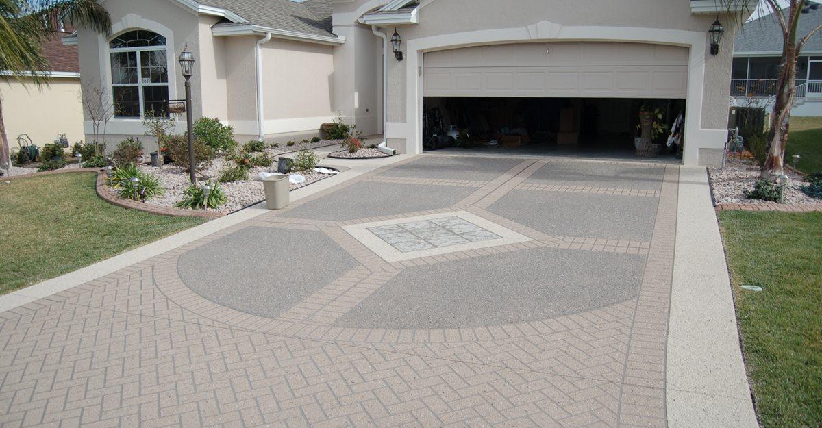 decorative concrete driveway, stencil template concrete driveways custom  ram design ocala, YAECPGM