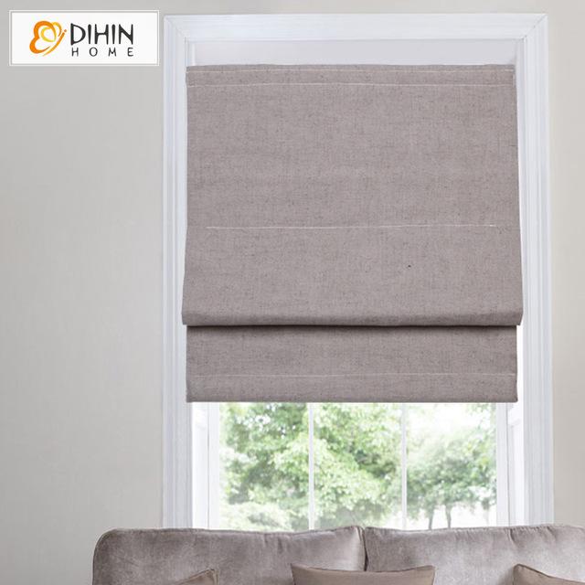 dihin home cotton/linen blackout curtain roman blinds curtain for kitchen  bathroom GYSMTOS